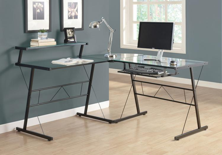 Computer Desk - Metal Corner With Tempered Glass