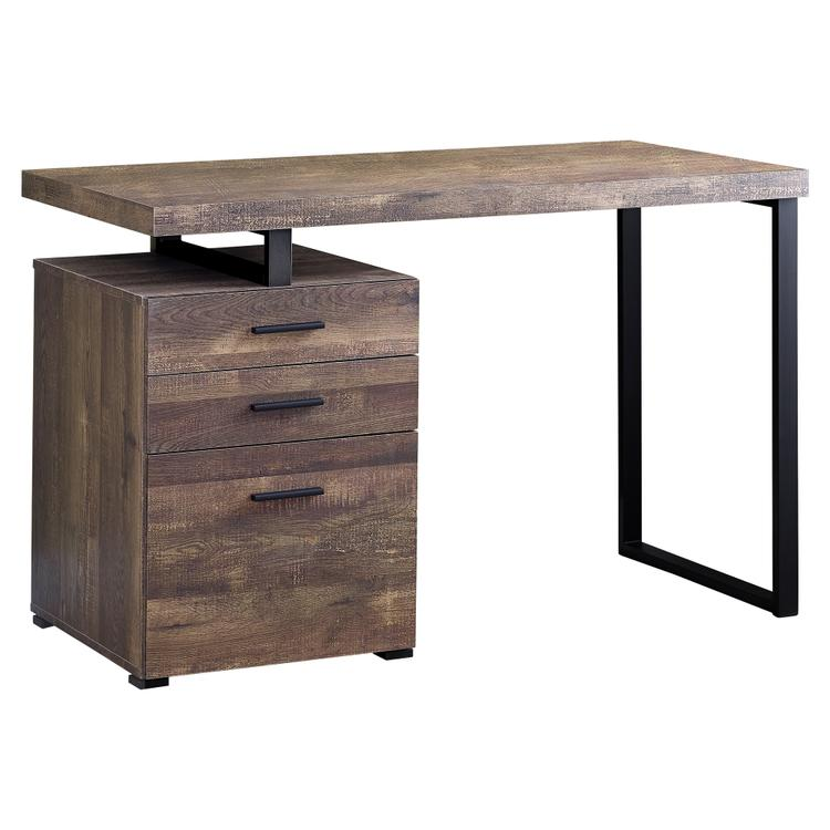 Monarch Specialties Computer Desk - 48 inch L / Brown Reclaimed Wood / Black Metal