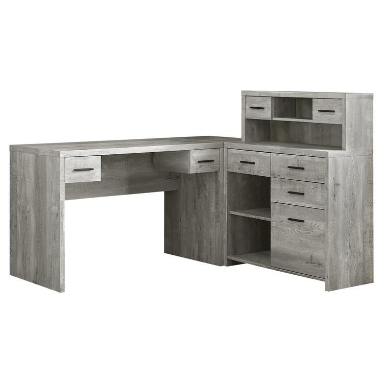 Monarch Specialties Computer Desk - Grey Reclaimed Wood L/R Facing Corner