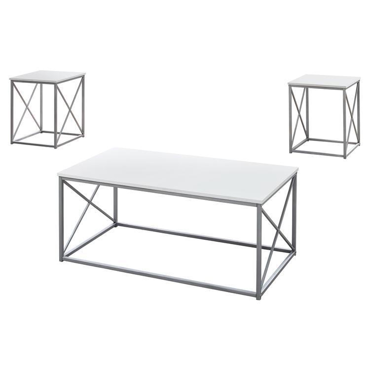 Monarch Specialties Table Set - 3Pcs Set / White / Silver Metal