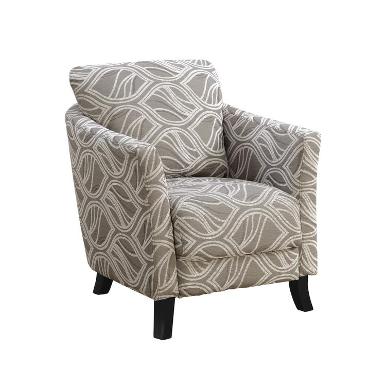 Monarch Specialties Accent Chair - Taupe Leaf Design Fabric