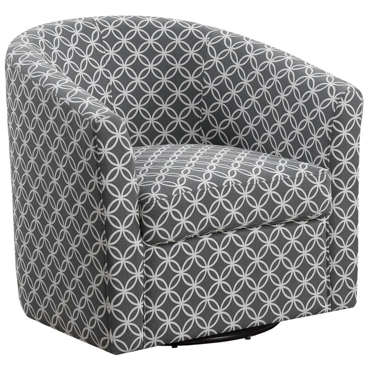 Monarch Specialties Accent Chair - Swivel / Grey Circular Fabric