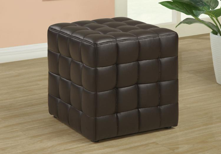 Monarch Specialties Leather Look Fabric Ottoman