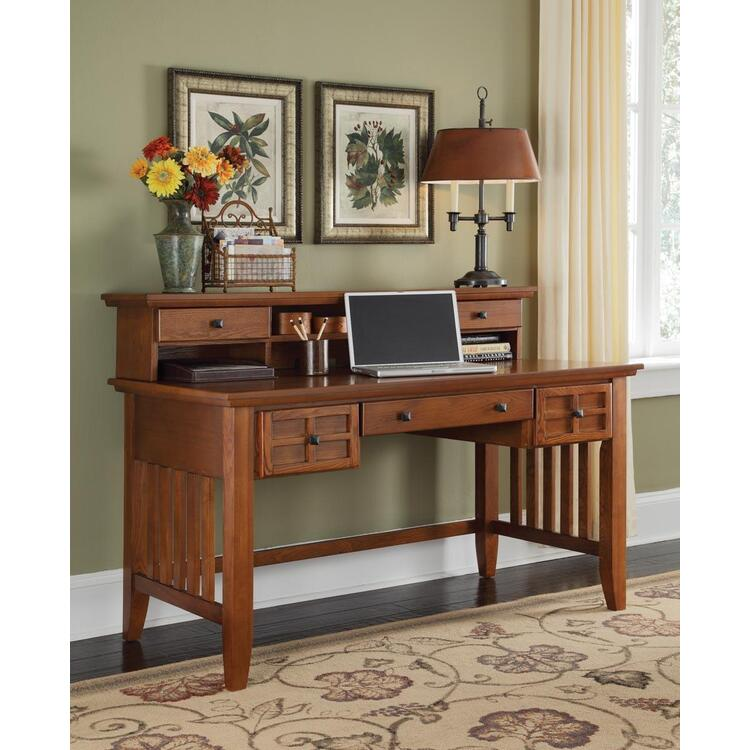Home Styles Arts & Crafts Cottage Oak Executive Desk With or Without Hutch