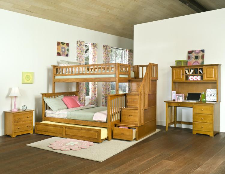 Atlantic Furniture Columbia Staircase Bunk Bed with Twin Size Raised Panel Trundle Bed