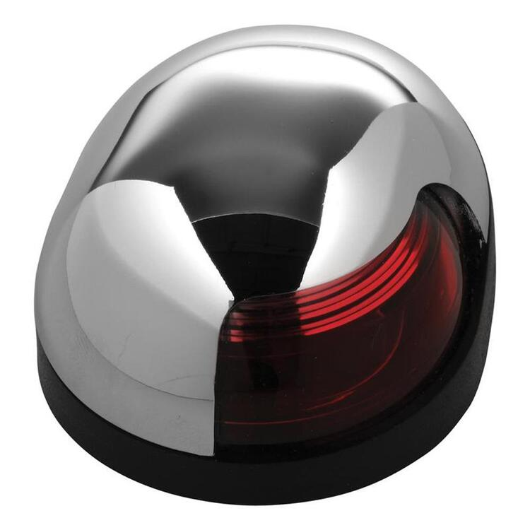 Quasar™ 2-Mile Deck Mount Red Sidelight - 12V - HIPP/Chrome Housing w/Black Base