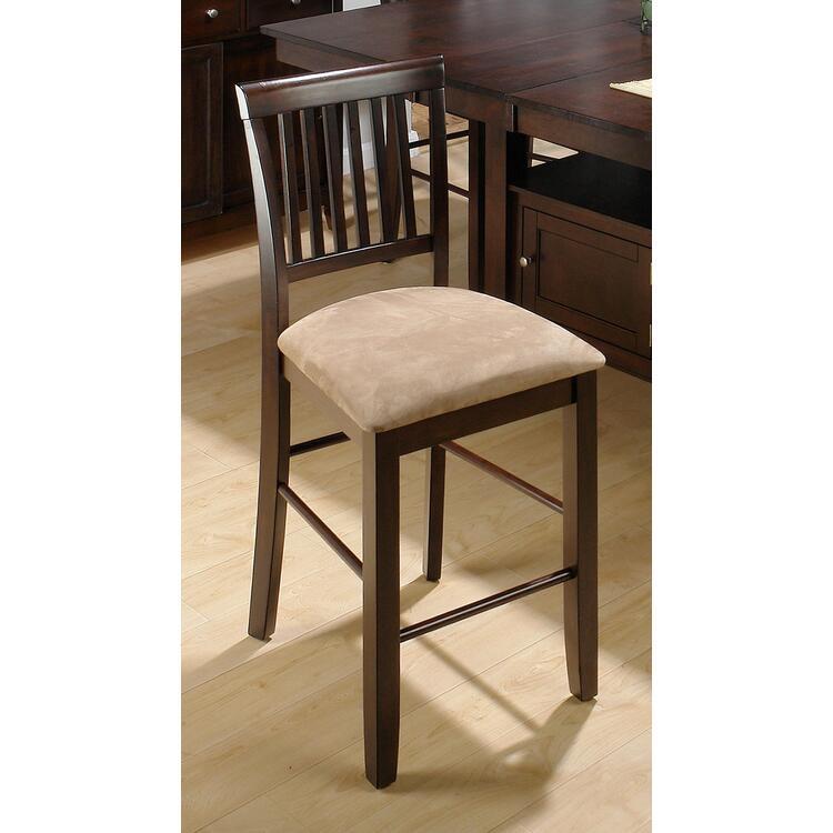 Baker's Cherry Finished Contemporary Slat Back Stool W/ Upholstered Seat