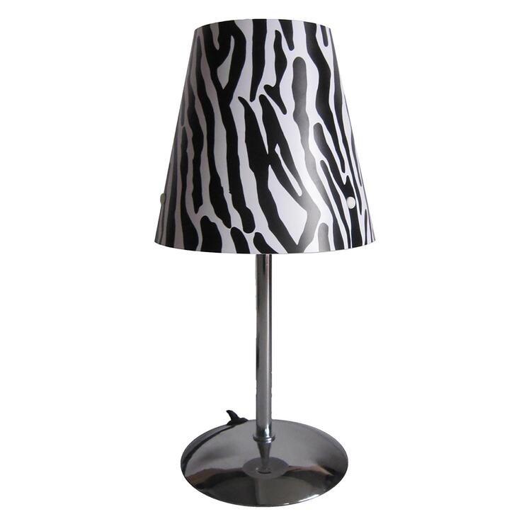 Mini Silver Table Lamp with Animal Print Shade