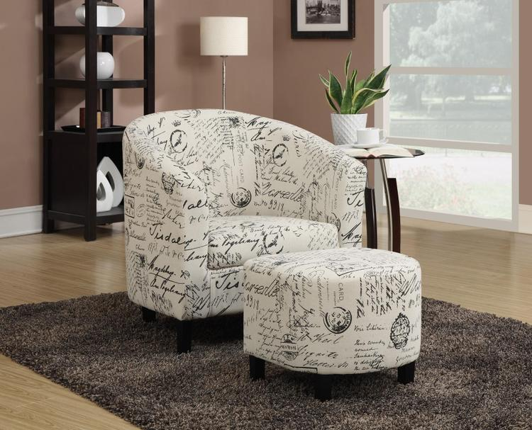 Coaster French Script Accent Chair with Ottoman