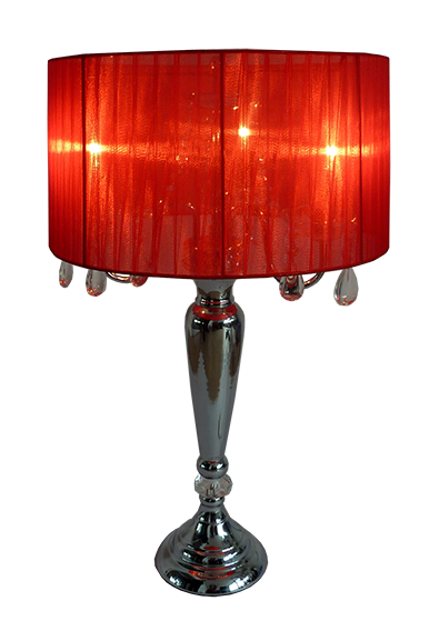 Shade Table Lamp with Hanging Crystals