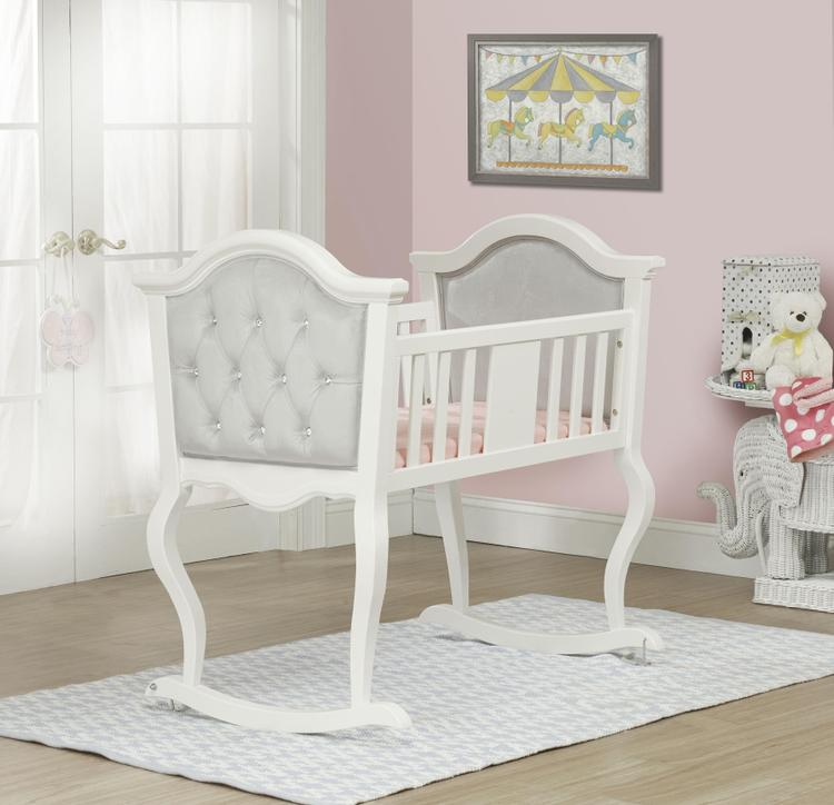 The Orbelle  French White Lola Cradle w Silver Padding
