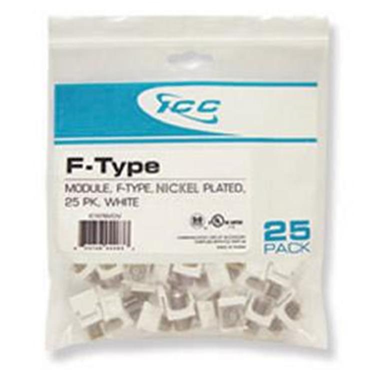 Module- F-Type Nickel Plated 25 Pk White