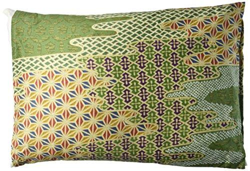 iLIVING ILG-914 Organic Buckwheat Pillow with Authentic Japanese Pillow Cover, 13 x 18 in., Fuji Moon Green
