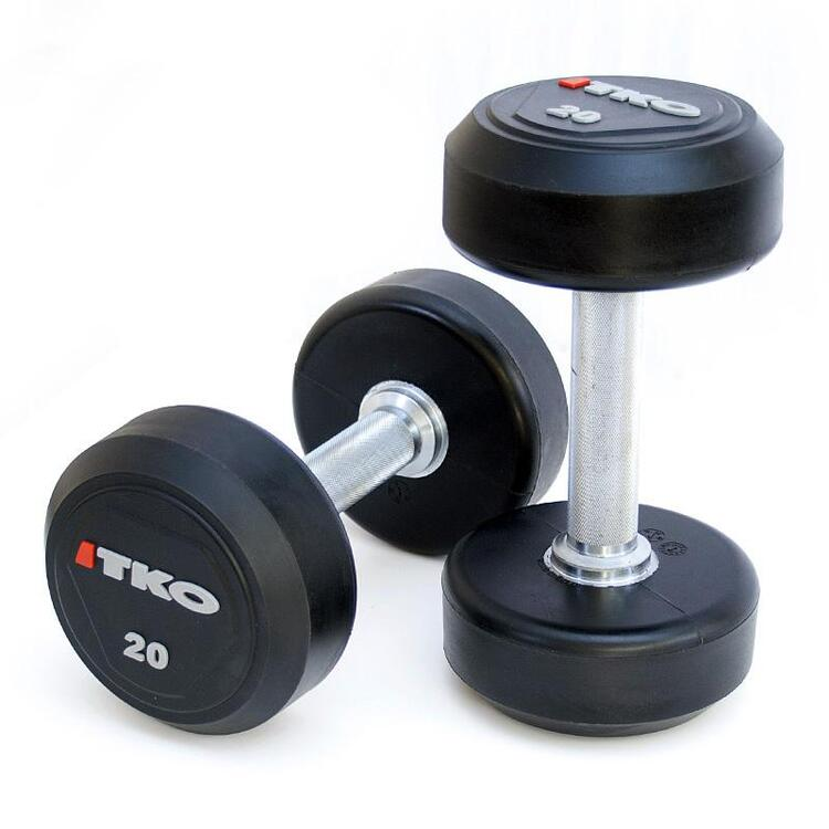 Solid Steel Urethane Coated Dumbbells with Tri-Grip Handle Set