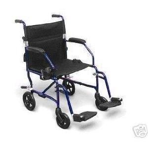 Lightweight Expedition Transport Wheelchair with Hand Brakes, Blue [Item # TC2A]