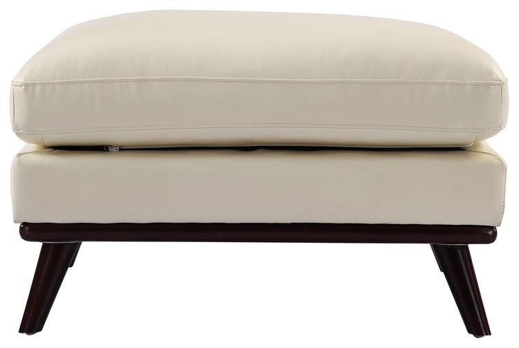 Kardiel  Jackie Midcentury Modern Ottoman, Aniline Leather, White