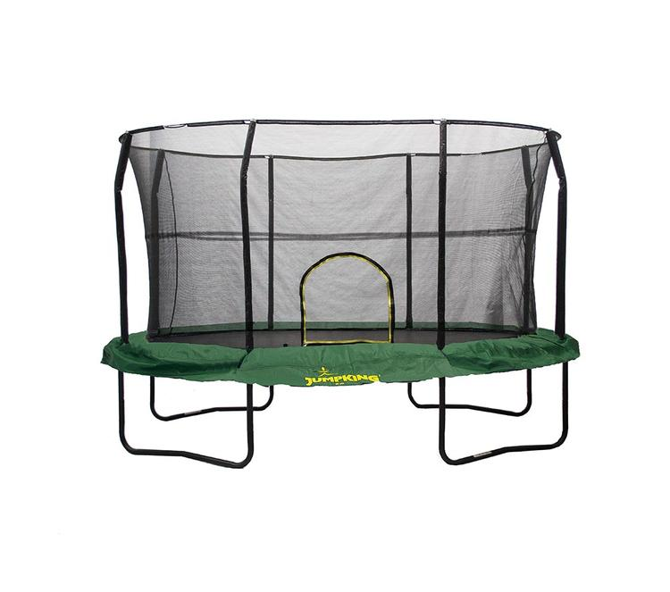 JumpKing 8' x 12' Oval Trampoline Enclosure Combo with Solid Green Pad