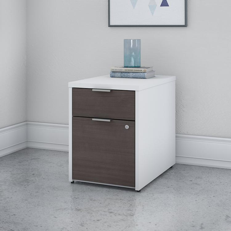 Bush Furniture Jamestown 2 Drawer File Cabinet in White and Storm Gray - Assembled