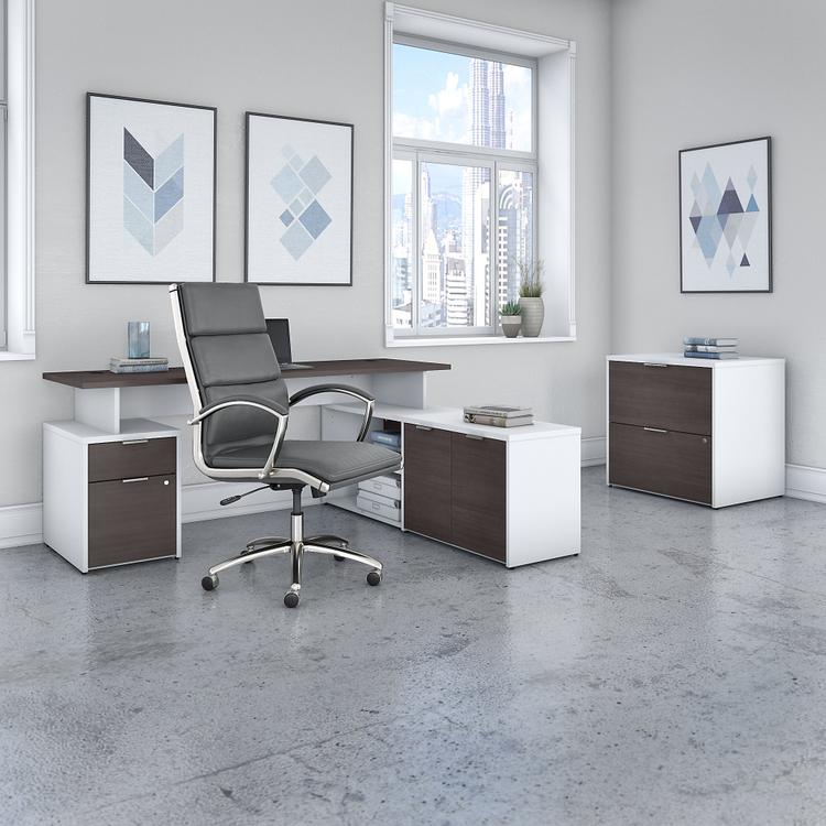 Bush Furniture Jamestown 72W L Shaped Desk with Lateral File Cabinet and High Back Office Chair in White and Storm Gray