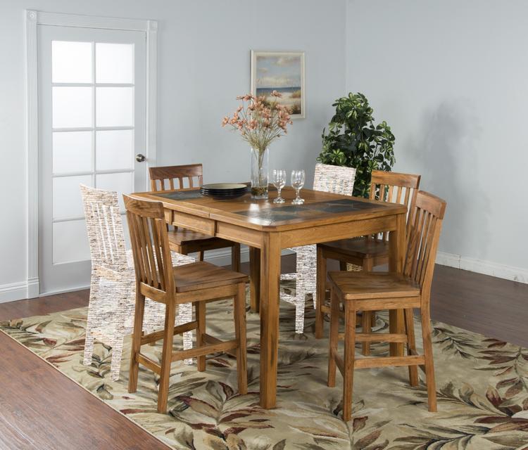 Sedona Extemsion Table with Slate Top & Four Slatback Barstools