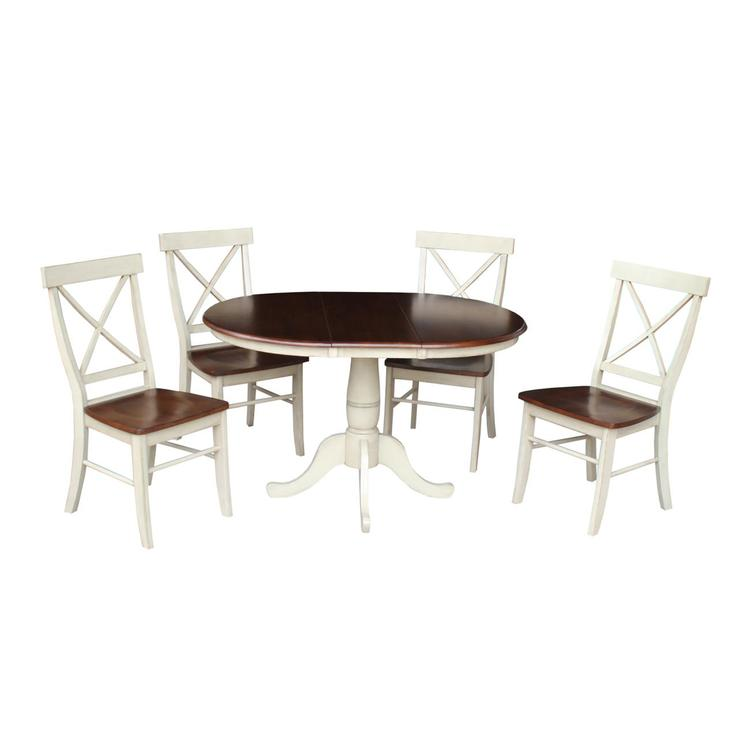 International ConceptsRound Extension Dining Table With 4 X-Back Chairs - Finish:Antiqued Almond/Espresso