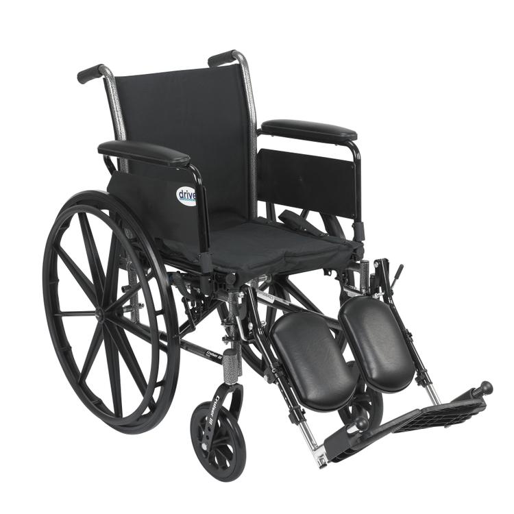 Cruiser III Light Weight Wheelchair with Flip Back Removable Arms, Full Arms, Swing away Footrests, 20