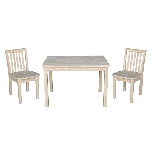 International Concepts Table with 2 Mission Juvenile Chairs - Unfinished- 3 Piece Set