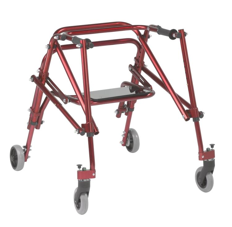 Nimbo 2G Lightweight Posterior Walker with Seat, Medium, Castle Red [Item # ka3200s-2gcr]