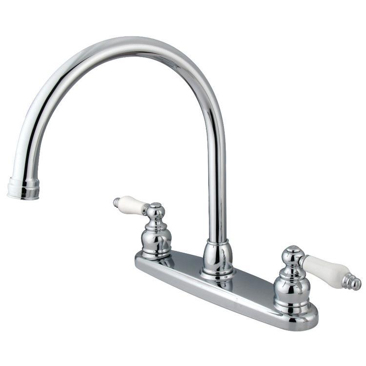 Kingston Brass KB721PLLS 8-Inch Centerset Kitchen Faucet, Polished Chrome