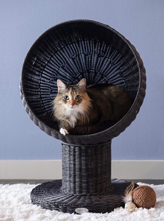 The Refined Feline Kitty Ball Bed - Espresso