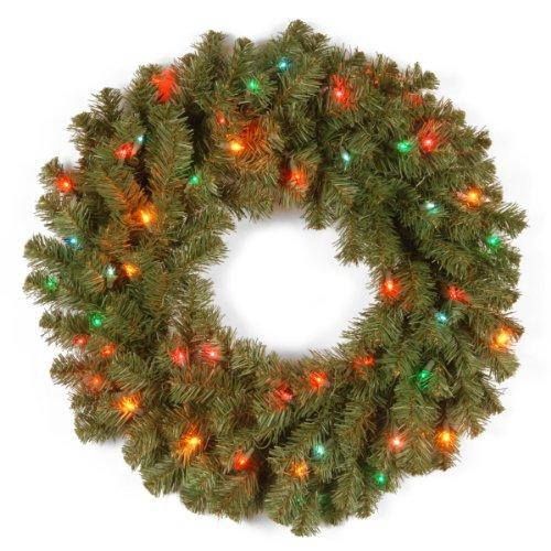 National Tree Kincaid Spruce Wreath with Multicolor Lights