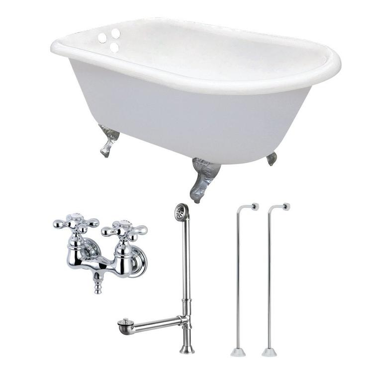 Aqua Eden 62-Inch Cast Iron Clawfoot Tub with Faucet Drain and Supply Lines Combo, White/Polished Chrome