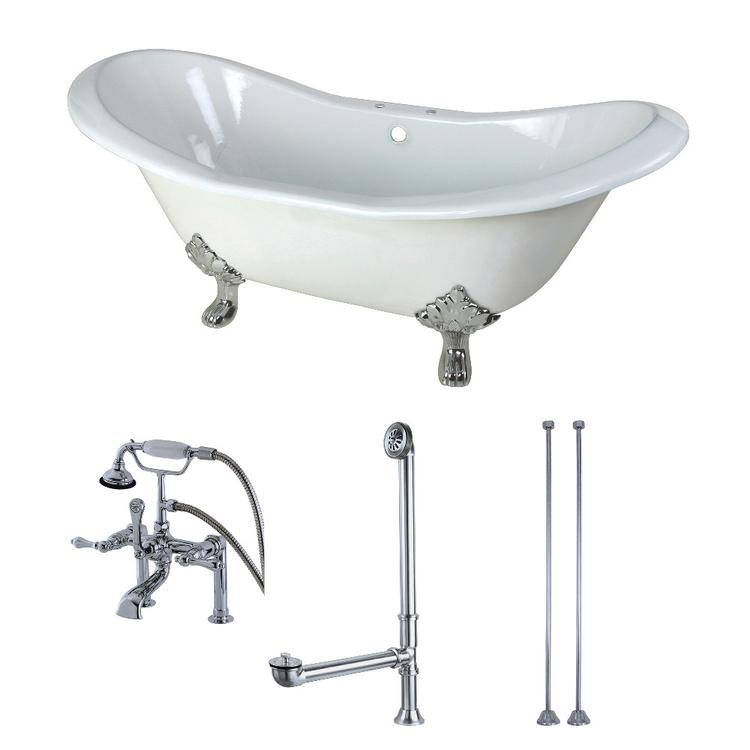 Aqua Eden 72-Inch Cast Iron Clawfoot Tub with Faucet Drain and Supply Lines Combo, White/Polished Chrome