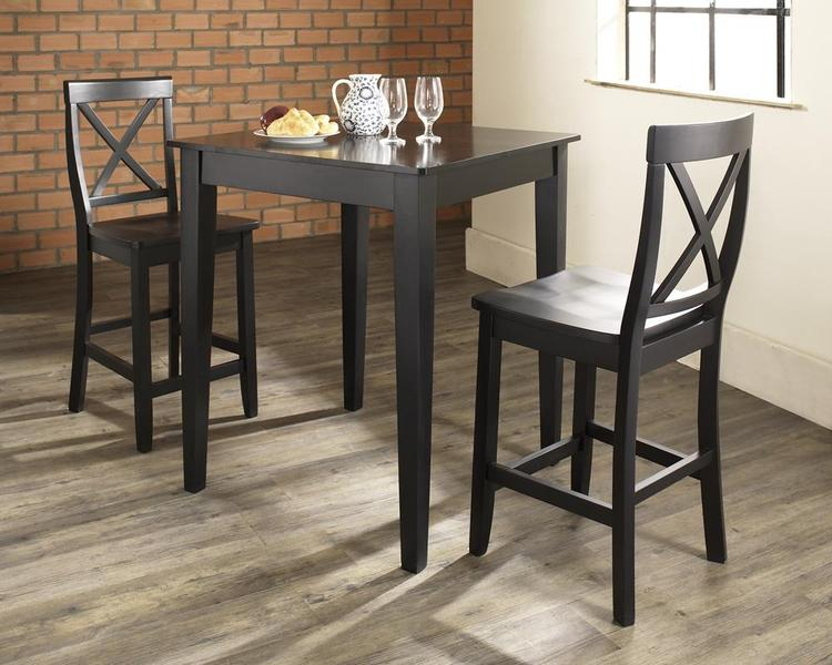 Crosley 3-Piece Pub Dining Set With Tapered Leg And X-Back Stool