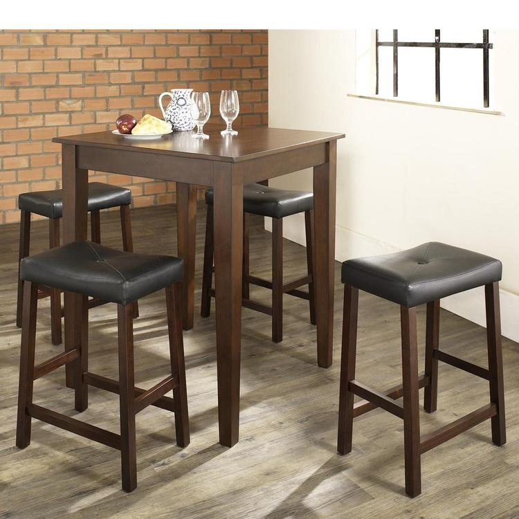 Crosley 5 Piece Pub Dining Set With Tapered Leg And Upholstered Saddle Stools
