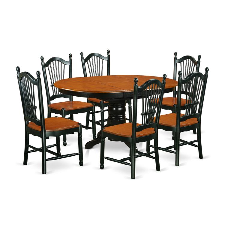 East West Furniture KEDO7-BCH-W 7-Piece dinette set with one Kenley table and 6 dining room chairs in a Black & Cherry Finish [Item # KEDO7-BCH-W]