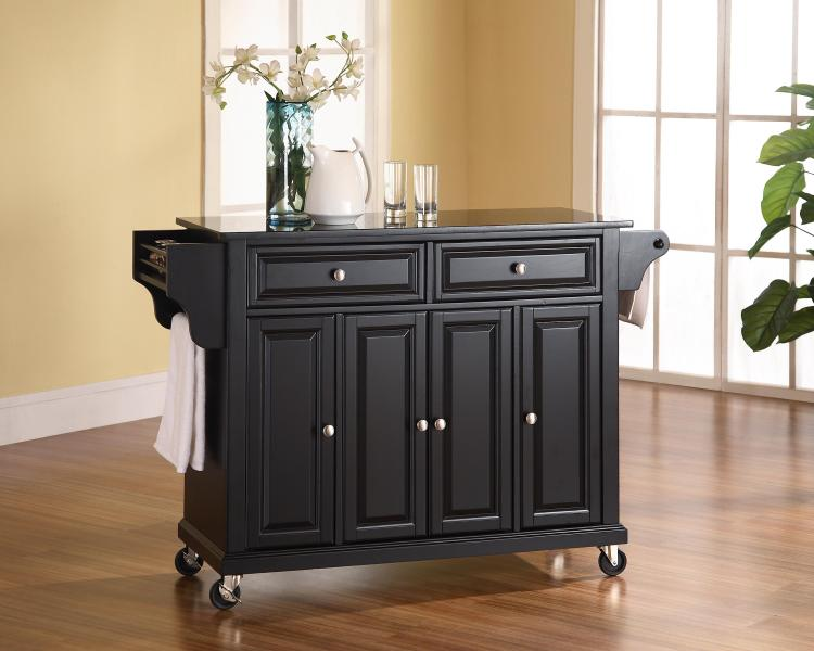 Crosley Solid Black Granite Top Kitchen Cart