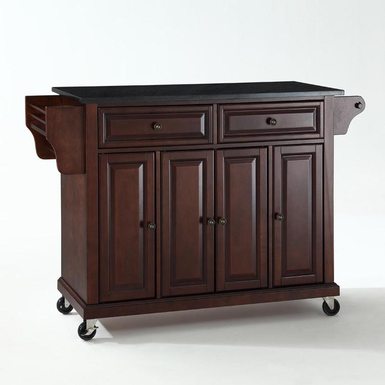 Crosley Solid Black Granite Top Kitchen Cart/Island
