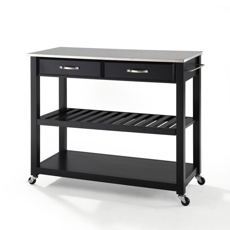 Crosley Stainless Steel Top Kitchen Cart/Island With Optional Stool Storage