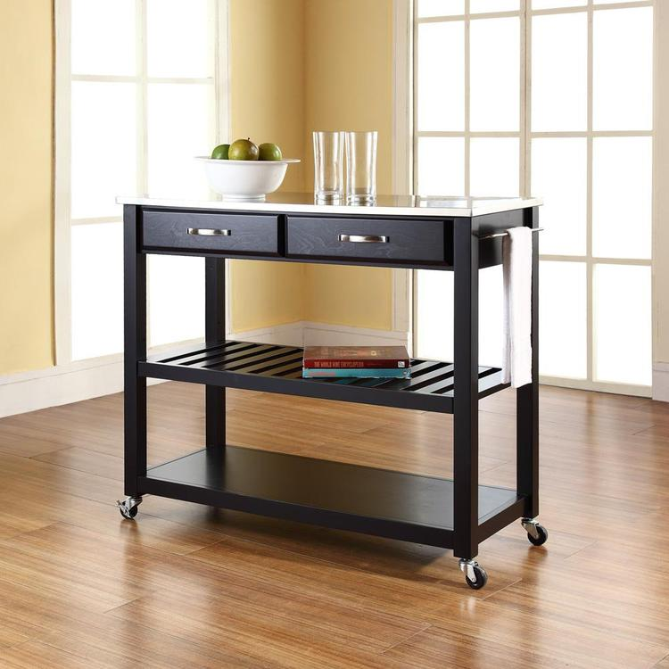 Kitchen Cart/Island With Optional Stool Storage