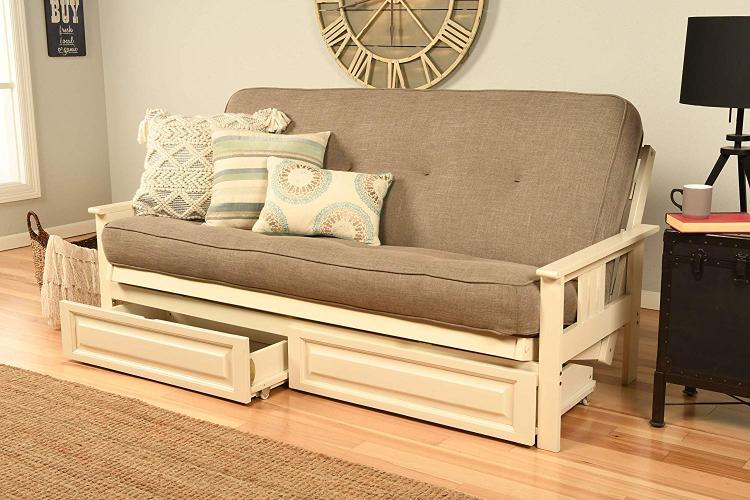 Kodiak Furniture Monterey Frame/Antique White Finish/Linen Stone Mattress/Storage Drawers