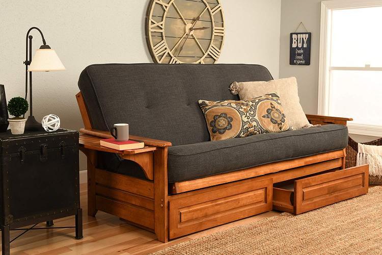 Kodiak Furniture Phoenix Frame-Barbados Finish-Linen Charcoal Mattress-Storage Drawers
