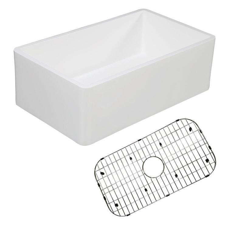 Gourmetier KGKFA301810BC Solid Surface Matte Stone Apron Front Farmhouse Single Bowl Kitchen Sink with Strainer and Grid, Matte White/Brushed