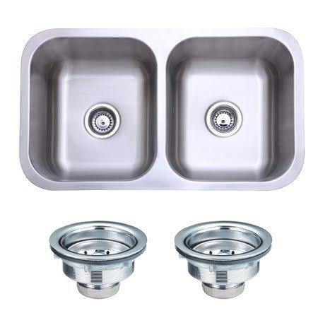 Gourmetier Kingston Brass KGKUD3118 Undermount Stainless Steel Double Bowl Kitchen Sink Combo With Strainers, Brushed [Item # KGKUD3118]