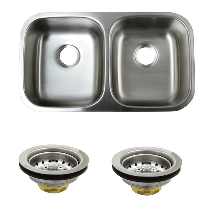 Kingston Brass KGKUD3118 Undermount Stainless Steel Double Bowl Kitchen Sink Combo With Strainers, Brushed