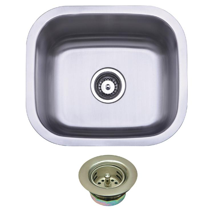 Kingston Brass KGKUS16168 Undermount Stainless Steel Single Bowl Bar Sink Combo With Strainer, Brushed