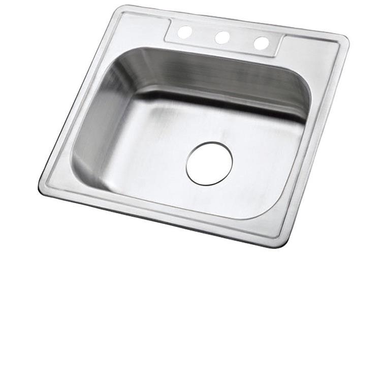 Kingston Brass KK25228BNDZ Stainless Steel Self-Rimming Single Bowl Kitchen Sinks Combo (QTY of 12 sinks), Brushed