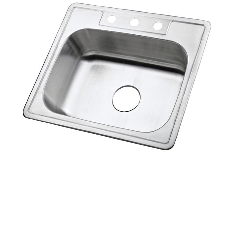 Kingston Brass KK25228BNX Stainless Steel Self-Rimming Single Bowl Kitchen Sink, Brushed