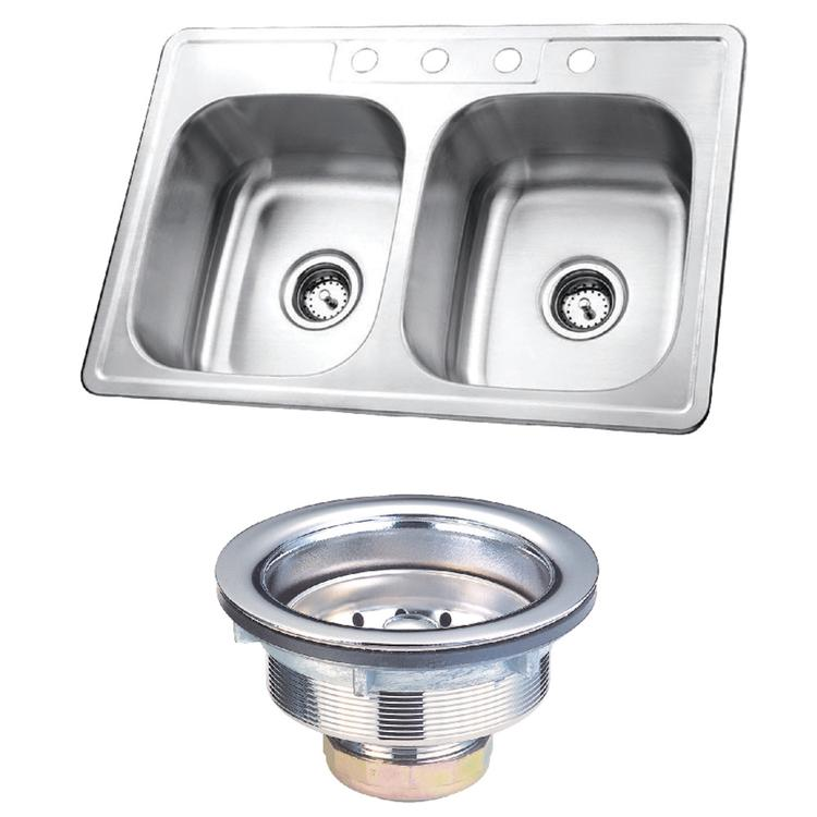 Kingston Brass KK33226DBN Stainless Steel Self-Rimming Double Bowl Kitchen Sink, Brushed [Item # KK33226DBN]