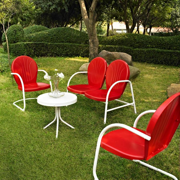 Griffith 4 Piece Metal Outdoor Conversation Seating Set - Loveseat & 2 Chairs